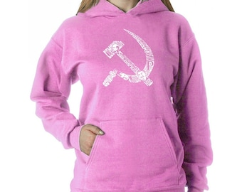 Women's Hooded Sweatshirt - Created using pictures and words that define the old Soviet Hammer and Sickle
