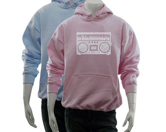 Women's Hooded Sweatshirt - Created using some of the Greatest Rap Hits of The 1980's