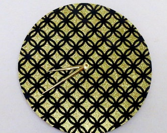 Art Deco Wall Clock, Gold Glitter and Black Home Decor, Home and Living, Decor and Housewares, Wall Decor, Unique Wall Clocks