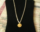 Vintage Gold Coin Pendant 22k with 10 k Rope chain