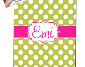 Personalized Polka dot  Fleece Blanket - Any Color