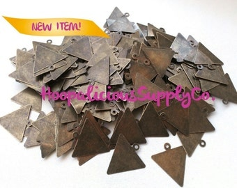 50 Triangular Die Cut Raw Brass Stampings w/ Top Loop.Paint them.Spray Painting. ENDLESS possibilities. Tracking included for buyers in USA.
