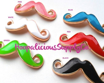 Set of 6 - 46mm MUSTACHE Connectors- Multi Color Pack-Has 1 Pink,1 White,1 Blue,1 Green,1 Black,1 Red--Fast Shipping w/Tracking 4 US Orders.