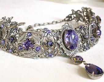 Gothic Choker -Tanzanite Swarovski Crystal Victorian Bridal Silver Choker - Bridal Necklace -Gothic Jewelry - Wedding Jewelry