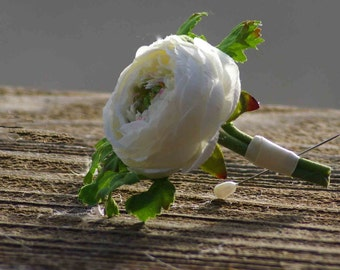 White Ivory Ranunculus Spring Boutonniere