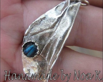 Reticulated Silver pendant with Abalone - Ready to Ship - Made in Israel