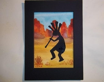 Kokopelli Desert, Original Watercolor, matted