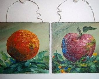 Apple and Orange Mini Paintings, Original OOAK