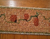 Pumpkin Table Runner, Hand Hooked Fabric Table Runner Primitive Pumpkin Harvest Table Home Decor