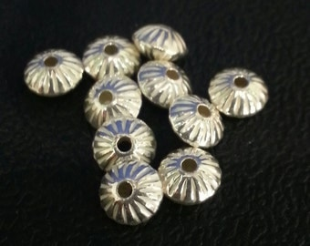 4.5 x 3 mm Sterling Silver Corrugated Saucer Beads 10 pieces