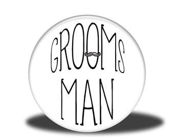 "Wedding Party Title - 1"" Button - Groomsman"