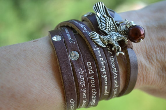 "Humanity Freedom ""Change Your Thoughts"" Leather Eagle Charm Bracelet"