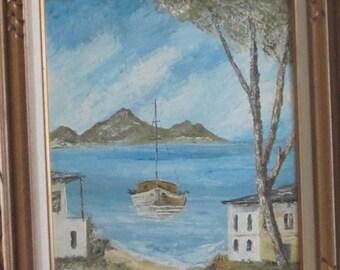 VINTAGE OIL Painting of SEASCAPE