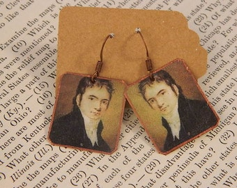 Beethoven earrings Composer jewelry Classical Music mixed media jewelry
