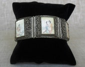 Vintage Chinese Silver Filigree Bracelet with Scrimshaw Panels c.1930's