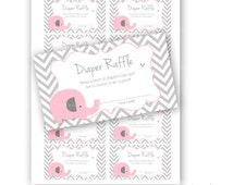 Baby Shower diapers raffle card Printable pink and grey baby elephant