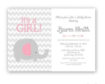 Girl baby shower invitation pink elephant and grey chevron