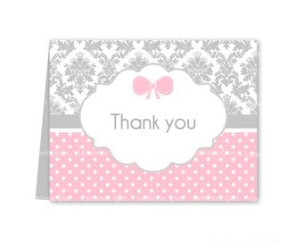Baby Shower thank you cards Printable damask grey and pink