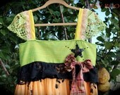 Romantic Boho Witch Dress Twirly Ruffles Feminine Altered Couture Shabby Chic Teen Mori Witch