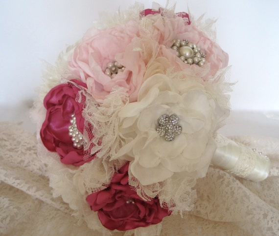 Vintage Inspired Fabric Flower Wedding Brooch Bouquet in Ivory Pink and Fuchsia  with Tulle Lace  Rhinestones and Pearls Custom Order
