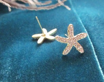 gold or silver starfish stud earrings with rhinestones.star, pierced
