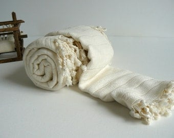 Turkish Bath Towel Bamboo Pestemal and Head Towel Set of 2 Pure Soft  Ivory