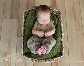 Children's Overalls Button Suspenders Pants Photo Prop Pick Your Color Newborn 0-12 Months