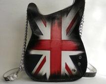 Leather purse. Handmade Eco Sustainable Leather Bag. Union Jack Guitar Shaped Bag. Handbag. LARGE Strato Bag.Crossbody Bag. Made to order