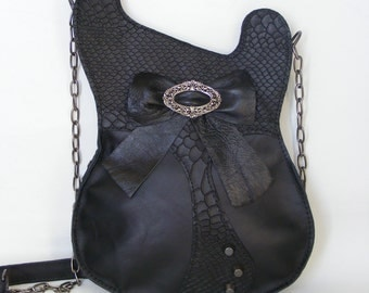 Leather purse. Black Handmade Eco Sustainable Leather Bag. Studded Guitar Shaped Bag. MADE TO ORDER
