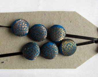 OOAK silk buttons, 6 3/4 inch peacock silk covered buttons with metallic embroidery