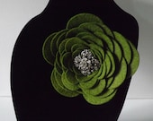 "Nice 4"" Wool Felt Fall FLOWER Brooch Accented with Rhinestone Center in Olive GREEN LOVELY"