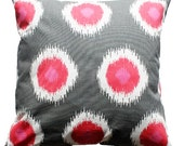 "CLEARANCE SALE!!!!!! PAIR of Gray & Pink Dots Modern Pillow Cover - 18"" x 18"" Decorative Pillow Cover"
