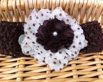 Brown and Cream Polka Dot Headband - CLEARANCE