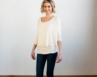 Flowey Modal Top Shirt TShirt with Three Quarter Sleeves