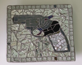 Mosaic Gun Pistol Trigger Firearm Stained Glass 2nd amendment NRA pearl handle heat toaster grey black and white hand made fine art