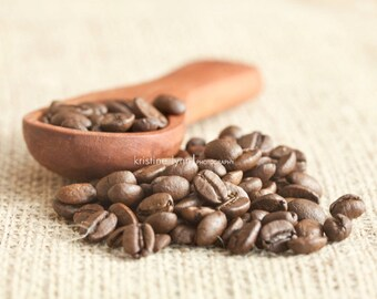 still life photography, coffee print, barista image, coffee beans