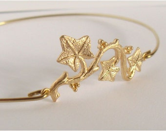 Gold leaf bangle - Branch bangle - Gold vine leaf bangle - Leaf bracelet - Everyday jewelry - Minimalist jewelry