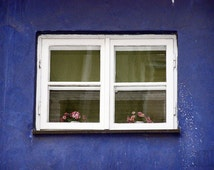 Wall art old window frames cobalt blue photo print romantic art small window in old town in Poland Europe photography 4x6 5x7 6x8 8x10 10x15