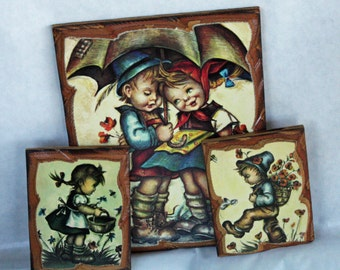 Vintage, Wood Wall Hangings,  Hummel Style, Plaques