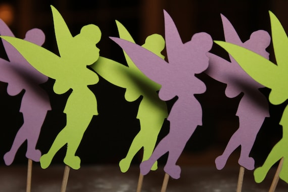 Tinkerbell Silhouette Cupcake Toppers 12 by EmelleeGifts ...