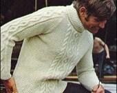 "No.131 Men's Knitting Pattern PDF Vintage Nautical Aran Turtleneck Sweater - Instant Download - Chest 40"", 42"", 44"" - Retro Knitting Pattern"