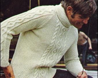Knitting Patterns For Turtleneck Sweater : No.131 Mens Knitting Pattern PDF Vintage Nautical Aran Turtleneck Sweate...