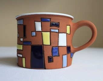 Coffee mug with rectangles - geometric symmetrical