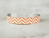 Orange Cuff Bracelet - Orange and White Bracelet - Halloween Bracelet - Metal Cuff Bracelet - Small Cuff Bracelet by Zoe Madison (239)