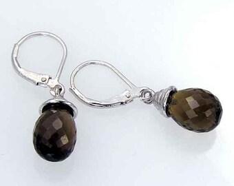 Smoky Quartz and Silver Teardrop Earrings. Dark Smoky Quartz Briolette Shape Dangle Earrings in 925 Sterling Silver, SQD01