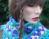 Womans scarf, vintage yarn/Safari. Hand crochet. Bold and beautiful. Boho, hippie, beach scarf. teens back to school HUGE SUMMER SALE :)