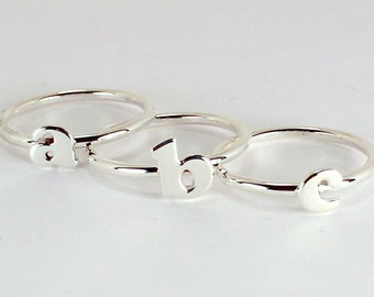 3 Letter Stacking Rings, Sterling Silver, Made to Order