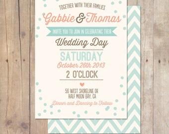 Rustic Vintage Mint Peach Plum Teal Wedding Invitation Printable or Professionally printed Cards