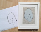 Your child's drawing appliquéd on to fabric. Personalised gift idea. Kids' drawing materialised.
