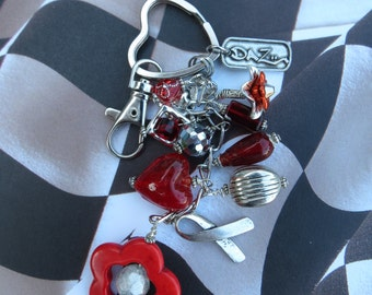 Beaded Purse Clip, Purse charm,Red & Silver Beads plus Red Turquoise Bead Frame